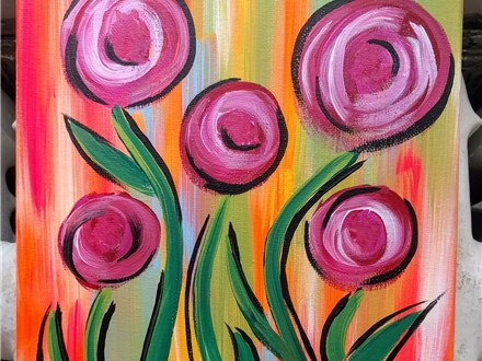 $30 Flowers Paint and Sip with Toni, 7/26 6-9PM
