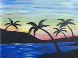 Adult Canvas Night Aug 6th Sunset Palms