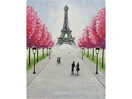 Eiffel Tower Canvas Painting Class at CozyMelts
