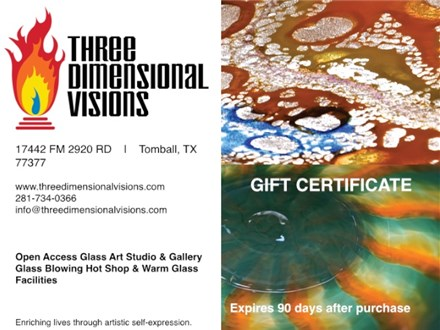 Gift Certificate – Glass Blowing Experience