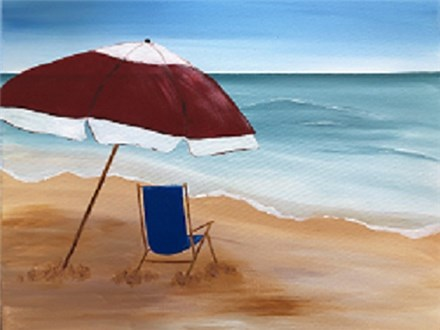 Canvas & Wine Night!  Best Seat at the Beach! 3/22/19