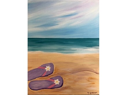 Canvas & Wine Night! Flip Flops in the Sand! 3/1/19