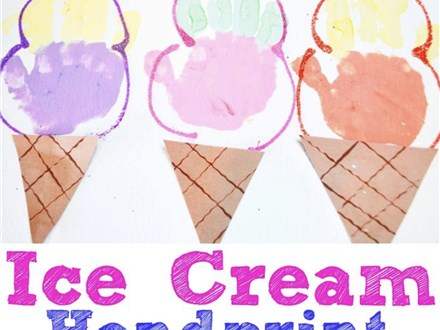 Mommy & Me Ice Cream Handprints July 27