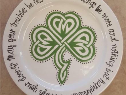 Adult Pottery - Celtic Shamrock Plate - 03.10.19