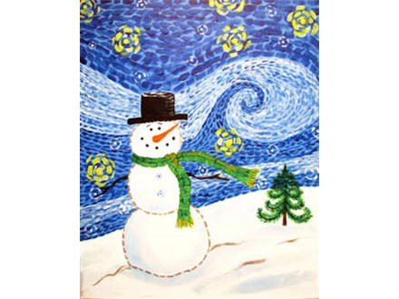 Starry Snowman Canvas Painting Class at CozyMelts
