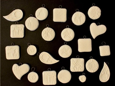 Bare bisque clay hand built pendants October 13th  6-8 PM (These haven't been painted yet)