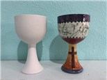 Unpainted goblet and painted sample
