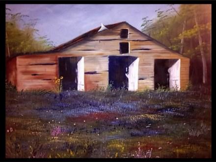 Oil: Guest Artist - Bluebonnets by the Barn 03/27