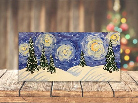 """""""Snow Covered Starry Night"""" Canvas Class ages 8 & up 12/17/19"""