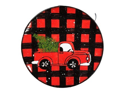 Pottery Painting: Plaid Vintage Truck Plate