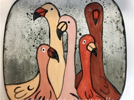 Flamingos Pottery Painting Class