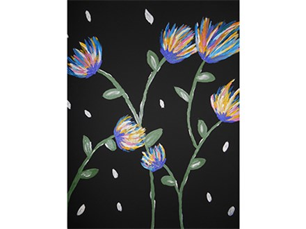 Mimosa Morning + available brunch! Les Fleurs du Nuit on black canvas