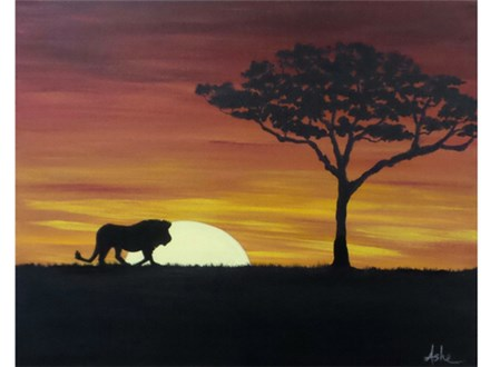 Serengeti Sunset - couples and singles  *option to add lion, giraffe or elephant