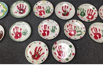 Handprints With Santa
