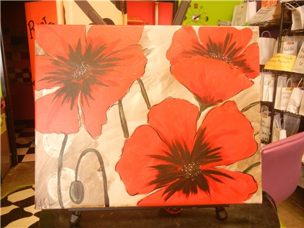 Rustic Red Poppy Canvas Painting Party at All Fired Up!