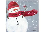 Snowman Holiday Cheers - 12x12 canvas *option to add a cup of hot chocolate instead of wine