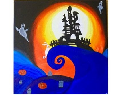 mad house on the hill, a canvas painting of haunted house sihouette on an orange background
