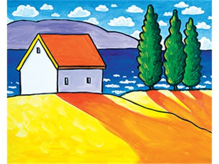 Canvas Painting - Waterside Cottage - Thursday, March 8, 2018
