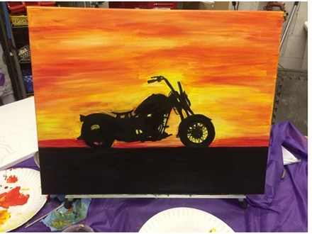 Motorcycle - Canvas - Paint and Sip