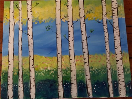 Paint N Party Spring Birch Trees