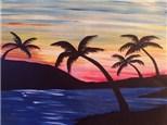 Canvas & Wine Night!  Sunset Palms!  12/29/16