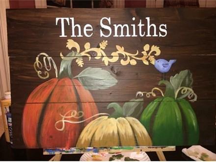 Rustic Pumpkins - Plank Art - Paint and Sip
