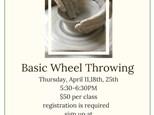 April Basic Wheel Throwing Class
