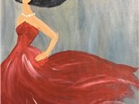 Lady With Red Dress Canvas Paint and Sip