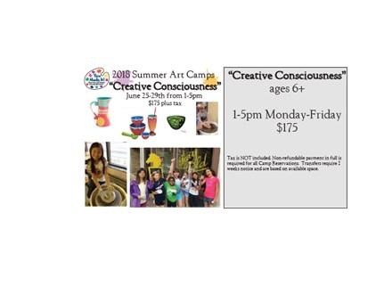 "Week Long Summer Art Camp: ""Creative Consciousness"" June 25-29th, 2018"