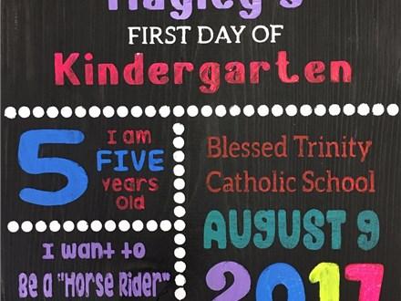 Kid's Board Art - First Day of School Board - 08.06.17