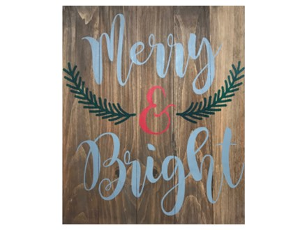 Merry & Bright Wood Painting 12/01