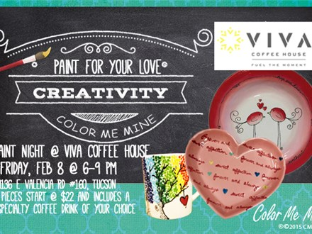 Valentine's Paint Night @ Viva Coffee House, Rita Ranch Tucson - Fri, Feb 8, 6-9pm