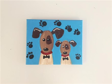 Playful Puppies (mommy/daddy and me ages 4+) Canvas Class