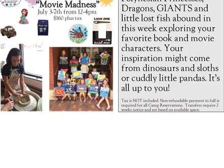 "Week Long Summer Art Camp: ""Movie Madness"" July 3-7th, 2017"