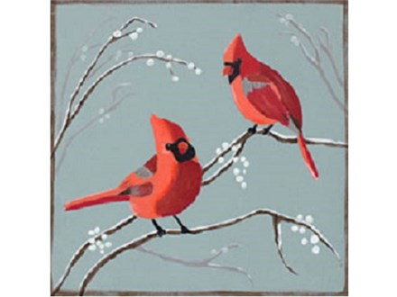 Canvas & Wine Night!  Cardinals and Berries! 1/23/17