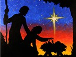Nativity Silhouette Canvas Painting Class at CozyMelts