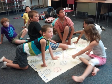 "Spintistics© is one of our summer ""Active"" games, in which we use a spinner and life-size game board to look @ probability (actual outcomes vs possible outcomes)!"
