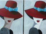 Lady in Red Hat - choice skin colors  (Ages 13+) 16x20 canvas