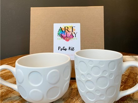 PoGo Kits: Paint Your Own Pottery TOGO! (2 Dotted Mugs)