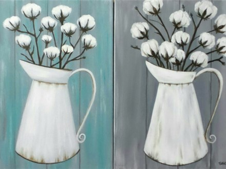 Cotton Pitcher - choice colors for background