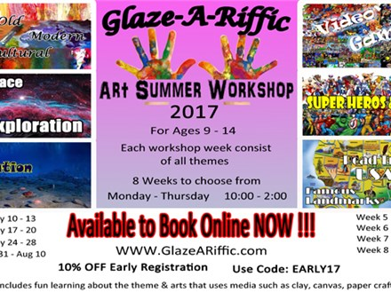 Art Summer Workshop at Glaze-A-Riffic Week 8 - 8/28 - 31