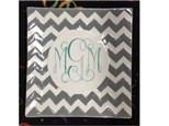 "11"" monogram chevron platter"