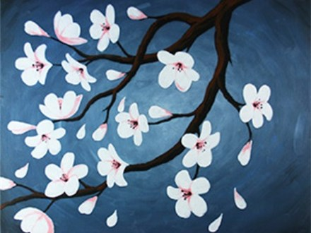 Canvas & Wine Night! Cherry Blossoms! 3/27/17