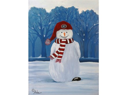 SnowFan - UGA **your choice colors and/or team (12x16) canvas **Great gift idea!