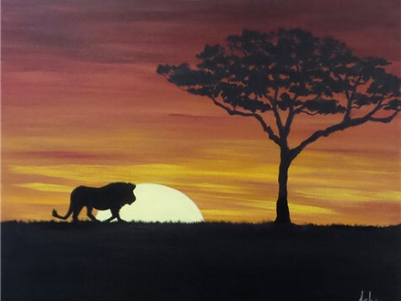 Serengeti Sunset - Couples and Singles - 1 canvas per person. Your choice to add lion, elephant or giraffe