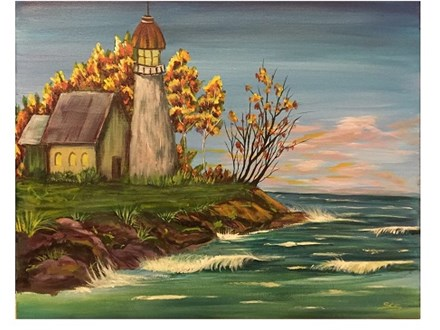 Fall Lighthouse - Canvas - Paint and Sip