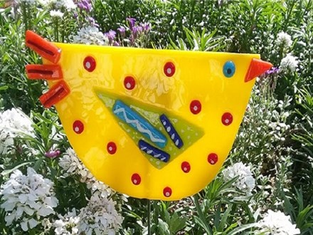 Garden Fused Glass Bird Stake- Yellow