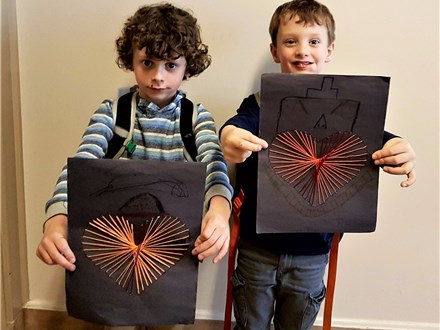 "These students made string art creations for their ""math craft!"" String art uses geometry to help kids create pictures from line designs!"