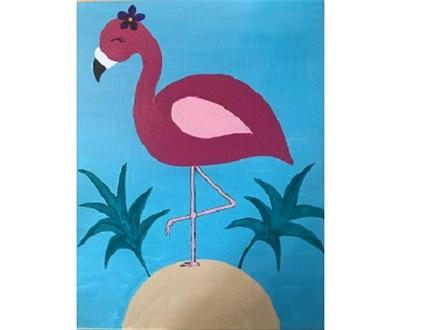 Canvas & Wine Night!  Art Deco Flamingo! 3/16/18
