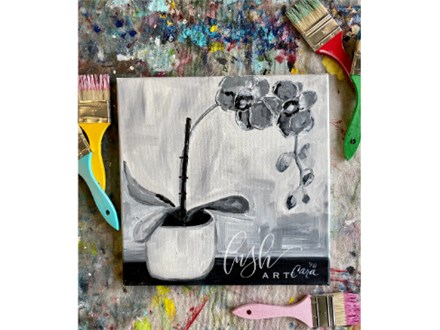Black & White Orchid Paint Class - Perry